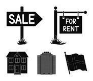 Signs of sale and rent, a skyscraper, a two-story cottage.Realtor set collection icons in black style vector symbol. Stock illustration Stock Photography
