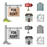 Signs of sale and rent, a skyscraper, a two-story cottage.Realtor set collection icons in cartoon,monochrome style. Vector symbol stock illustration Royalty Free Stock Photos