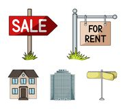 Signs of sale and rent, a skyscraper, a two-story cottage.Realtor set collection icons in cartoon style vector symbol. Stock illustration Stock Photo