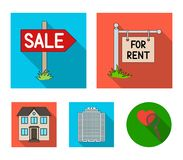 Signs of sale and rent, a skyscraper, a two-story cottage.Realtor set collection icons in flat style vector symbol stock. Illustration Stock Images