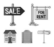 Signs of sale and rent, a skyscraper, a two-story cottage.Realtor set collection icons in monochrome style vector symbol. Stock illustration Royalty Free Stock Images