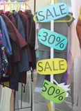 Signs sales and discounts Stock Photo