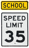 Signs: School Zone Speed Limit Royalty Free Stock Photo