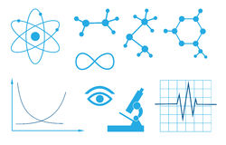 Vector signs of science - set Royalty Free Stock Photo