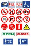 Signs for shop. Various types of signs for shops and restaurants Stock Image