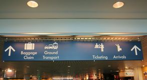 Signs showing different areas on air port Stock Image