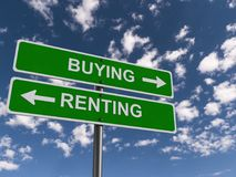 Buying and Renting Signs. Signs showing the path of either buying or renting stock photography