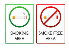 Signs for smoking and smoke free area. Two smoking signs - for smoking area and non-smoking (smoke free) area Stock Images