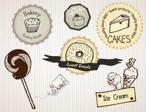 Bakery Signs. Signs (stickers) with bakery products Stock Images