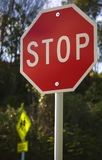 Signs Stop and School together Stock Photography