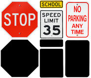 Signs: Stop, Speed Limit and No Parking Signs with Alpha Channel Stock Images