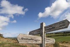 Signs for Strathpeffer on Knockfarrel hill in Scotland. Stock Photos