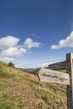 Signs for Strathpeffer on Knockfarrel hill in Scotland. Stock Images