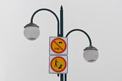 Signs on the street light Stock Photography