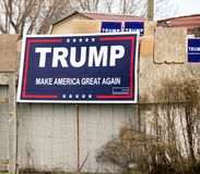 Signs Supporting Trump and the Slogan Make America Great Again stock photo
