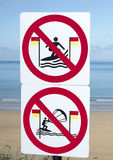 Signs for surfers in ballybunion royalty free stock image