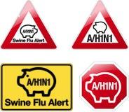 Signs swine flu alert. H1N1 Swine Flu Warning Signs Royalty Free Stock Photos