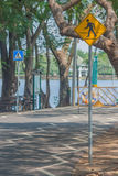 The signs and symbols on bicycle path. Stock Image