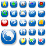 Signs&Symbols-Blue-DropShadows. Set of shiny button icons. The blue Signs & Symbols Collection, with drop shadows