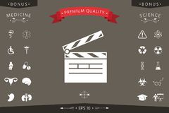 Clapperboard icon symbol. Signs and symbols - graphic elements for your design Stock Photography