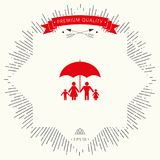Family under umbrella - Family protect icon. Signs and symbols - graphic elements for your design Stock Image