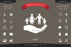 Hand holding a symbol of family. Family protect icon. Signs and symbols - graphic elements for your design Royalty Free Stock Photo