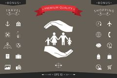 Hands holding a symbol of family. Family protect icon. Signs and symbols - graphic elements for your design Stock Photos