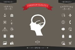 Head with brain symbol icon. Signs and symbols - graphic elements for your design Royalty Free Stock Images