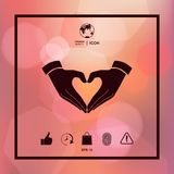 Heart shape made with hands. Signs and symbols - graphic elements for your design Royalty Free Stock Images