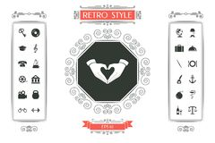 Heart shape made with hands. Signs and symbols - graphic elements for your design Stock Image