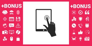 Touch screen tablet with click hand. Signs and symbols - graphic elements for your design Royalty Free Stock Photos