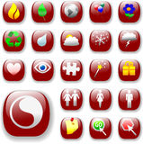 Signs Symbols Icons Red Button. Set of shiny button icons. The ruby red Signs & Symbols Collection, with drop shadows royalty free illustration