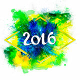 Signs, symbols inscription 2016 on a ink explosion background watercolor stains. Green, blue, yellow colors of the Brazilian flag, Carnival coloring Stock Images