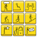 Signs symbols of little men from very simple lines Royalty Free Stock Photo