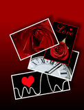Signs and Symbols of Love, Valentines, Romance. Cards and photos on flat surface Royalty Free Stock Photos