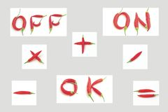 Signs and symbols made from chili Royalty Free Stock Image