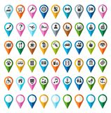 Signs, symbols, objects, locality, city, color, flat. Colored flat icons indicating the locations of urban and public areas. For websites, navigation and royalty free illustration