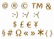 Signs from teak veneer, set. Signs and symbol from teak veneer, set Stock Photos