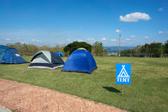 Signs tell the tent point Stock Image