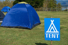 Signs tell the tent point Royalty Free Stock Photos