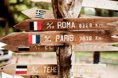 Indications to distant european cities in wood located thousand of miles away royalty free stock images