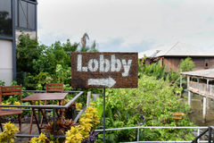 Signs to Lobby Royalty Free Stock Photography