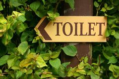 Signs to the toilet in the garden. Royalty Free Stock Image