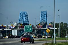 Signs, Toll Booths, and Bridges seen in New York Stock Image