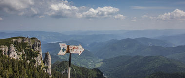 Signs at the top of ceahlau mountain range Royalty Free Stock Photo