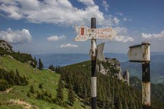 Signs at the top of ceahlau mountain range. Romania Stock Image