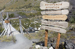 Signs in Torres del Paine national park in Chile. Waning signs on the trail in Torrs del Paine park in Chile stock photos