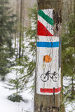Signs for tourist horse-, ski-, bike-, and hiking-trails Royalty Free Stock Image