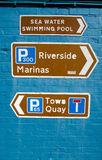 Signs for Tourists, Lymington, New Forest. Direction signs for visitors to the seaside town of Lymington in the New Forest, Hampshire Royalty Free Stock Photos
