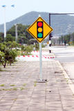 Signs traffic light the intersection. Stock Photography